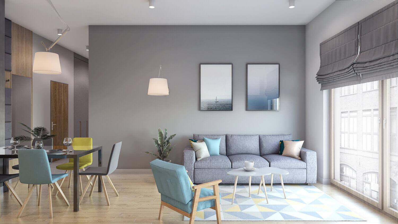projekt salonu w mieszkaniu pod wynajem