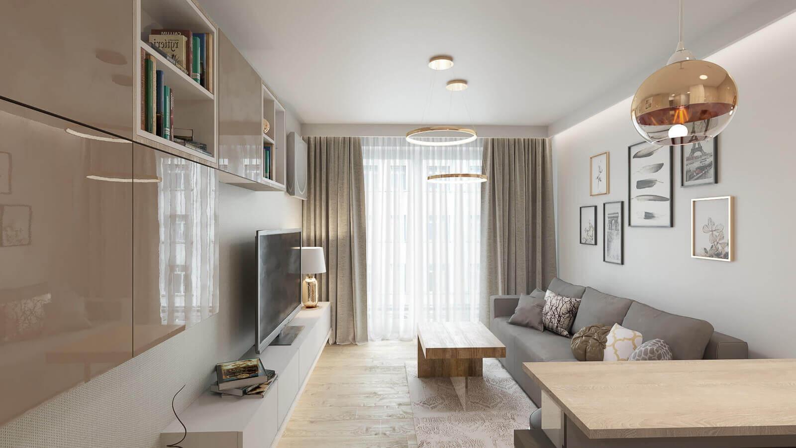 salon - - mieszkanie 43m2