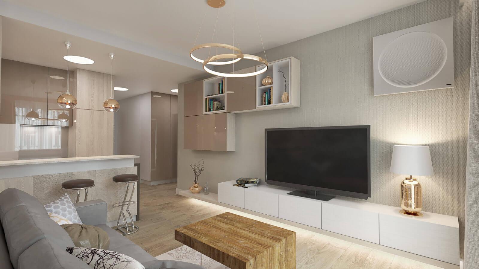 ZawickaID, Małe mieszkanie, Projekt salonu