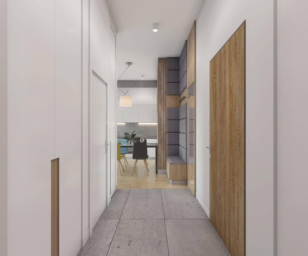 projekt przedpokoju w mieszkaniu pod wynajem