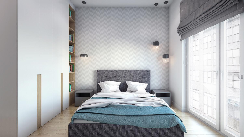 projekt sypialni w mieszkaniu pod wynajem