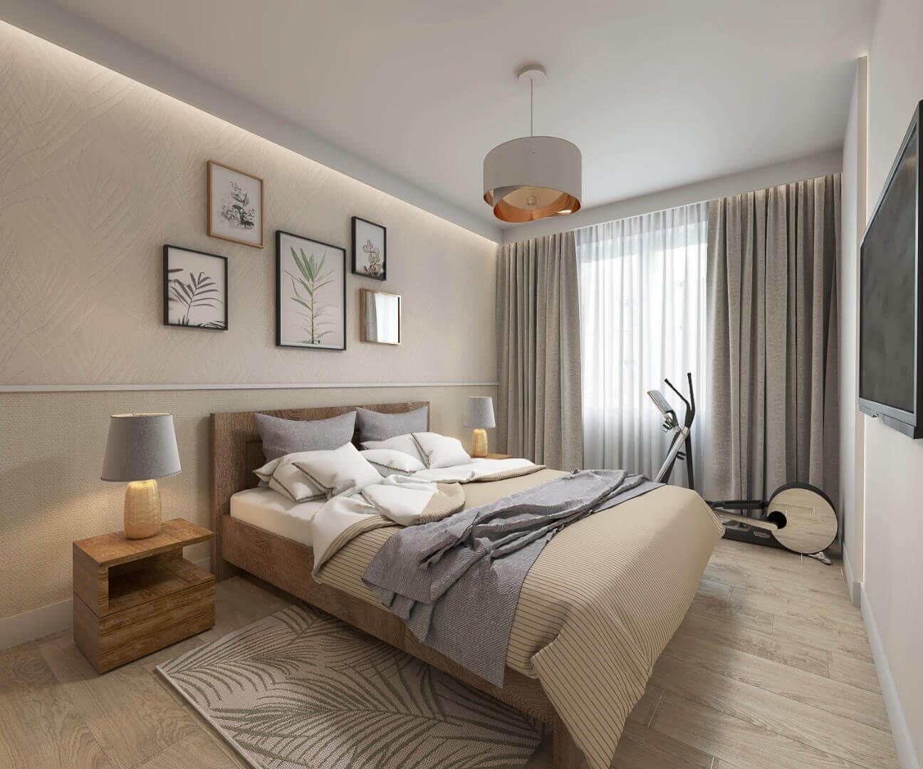 sypialnia - mieszkanie 43m2