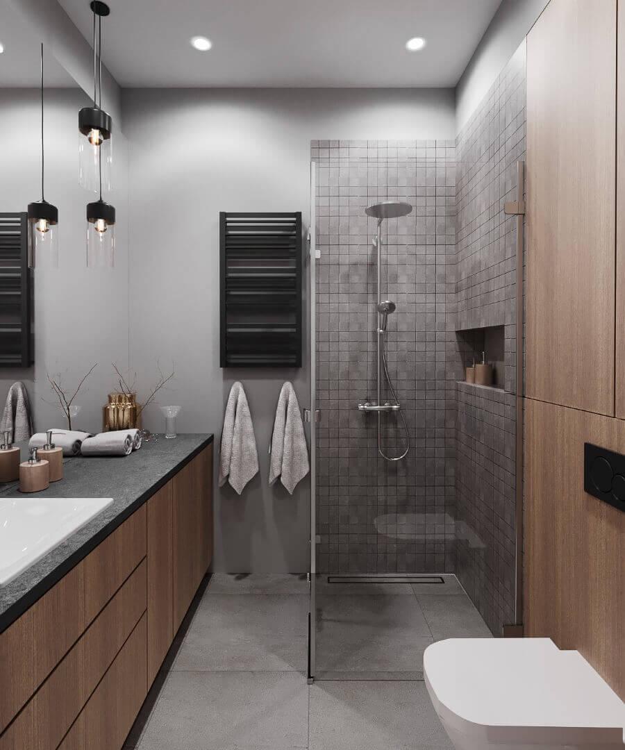 projekt łazienki w mieszkaniu pod wynajem